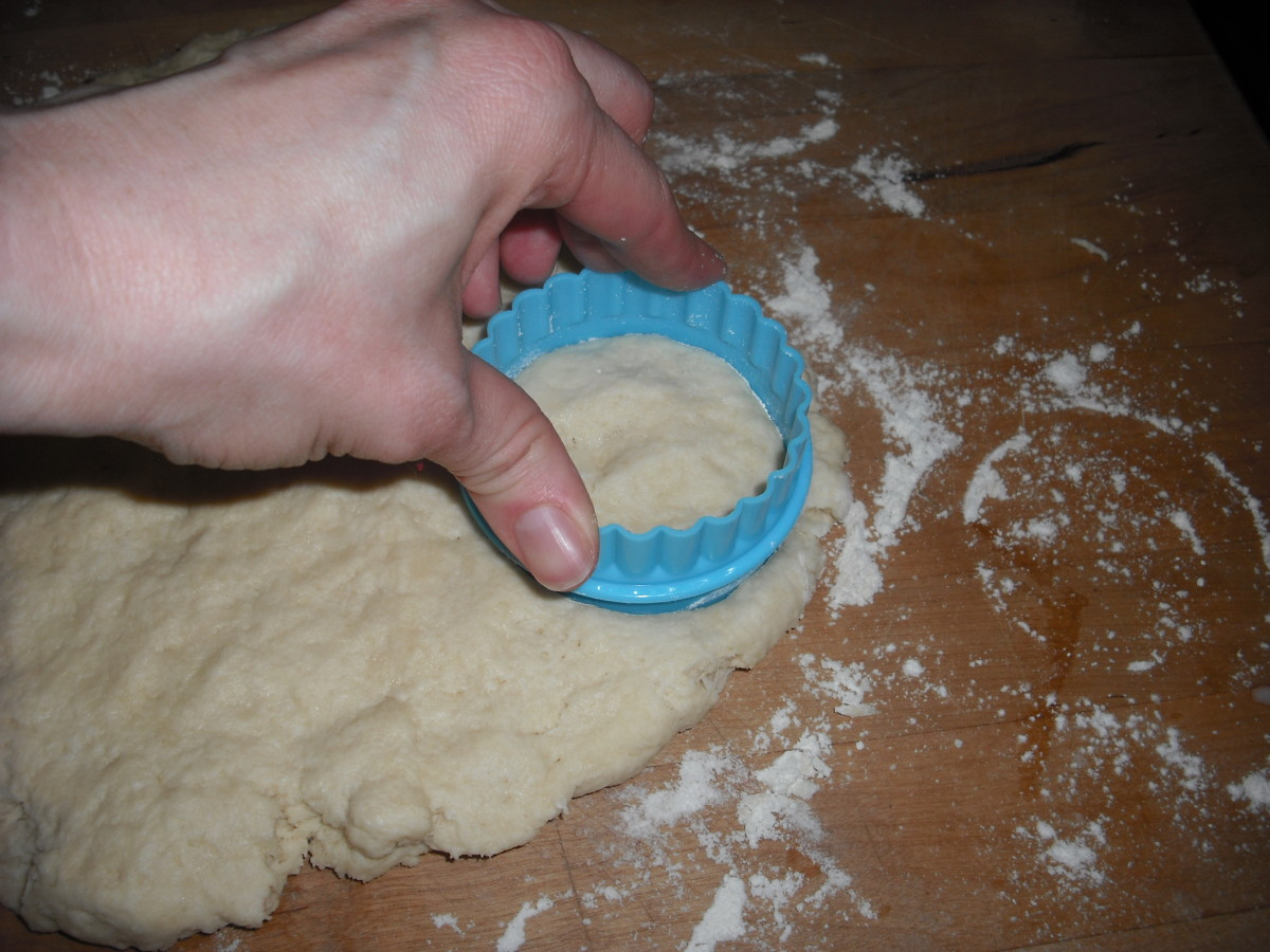 "Pat the dough to 1/2"" thickness and cut with a floured 2"" biscuit cutter."