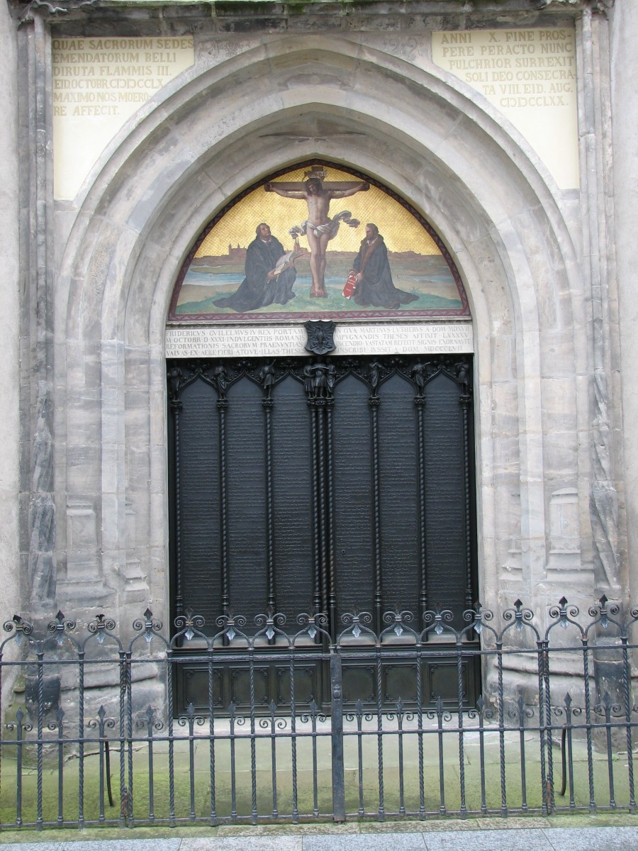 Door of All Saints' Church in Wittenberg to which, by one account, Luther nailed his Ninety-Five Theses on 31 October 1517, sparking the Reformation.