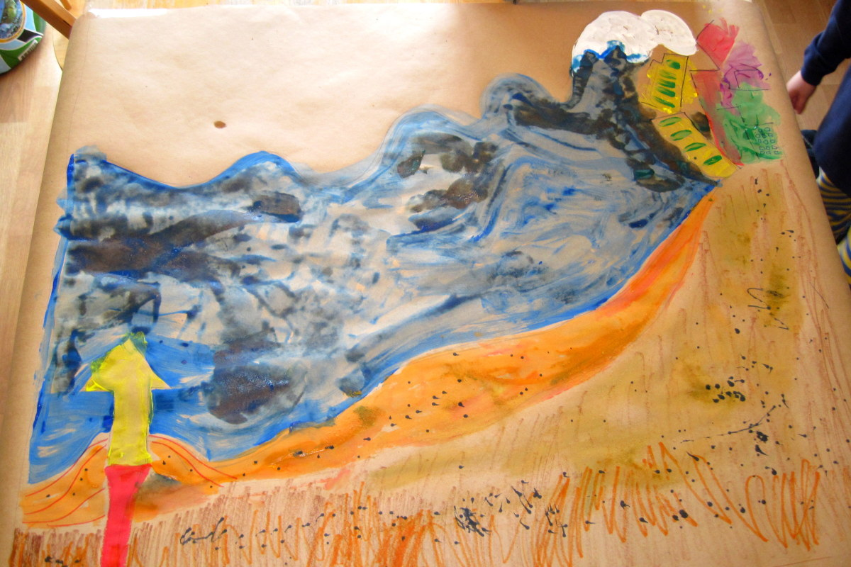 A tsunamis made with paint, markers and sand.