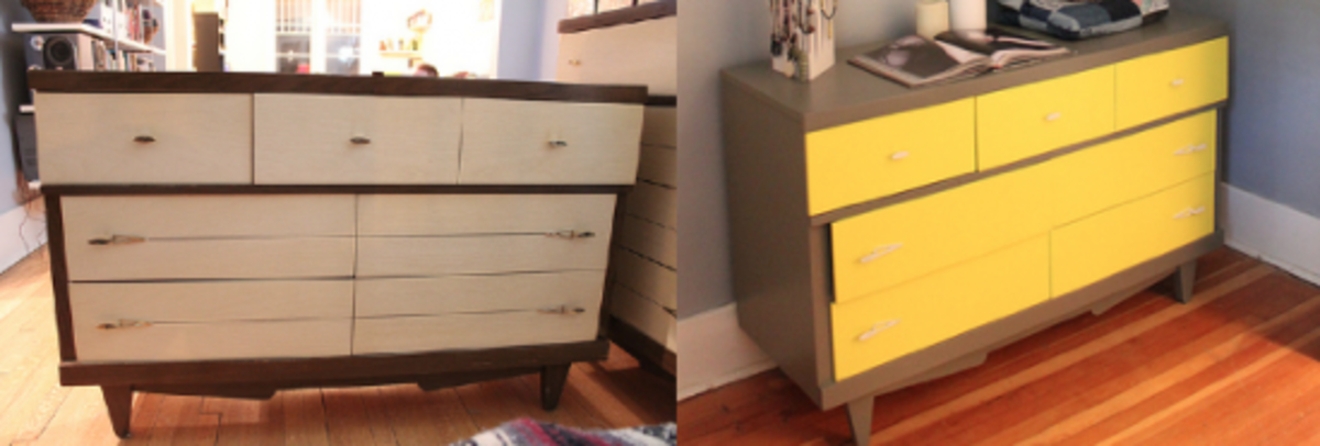 This dresser is given a completely new look with a small amount of paint. Just about any skill level could do this.