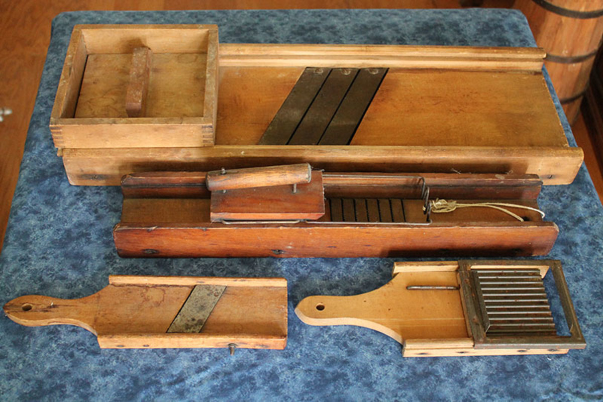 Wooden cabbage and vegetable slicers were made in all sizes and used different styles of cutting blades