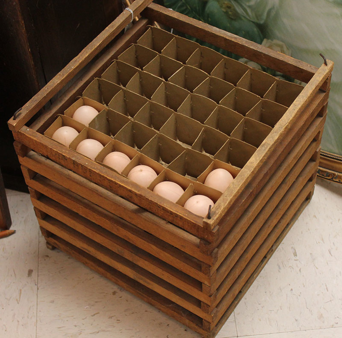 Egg crates made of wood