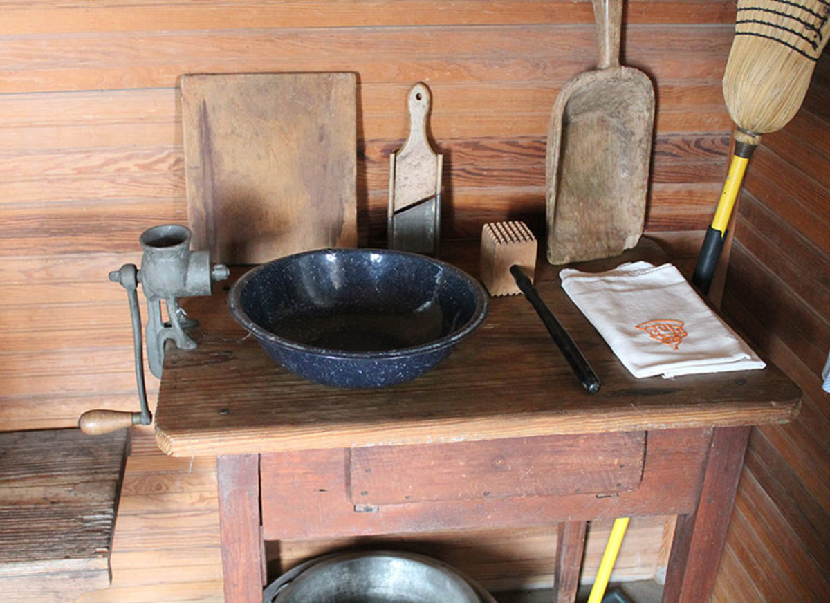 Primitive wooden scoops and chopping boards would be made, while other items were store bought.