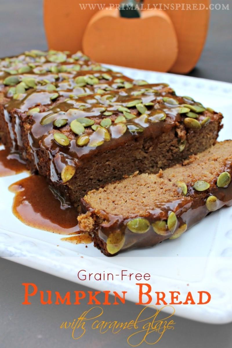 Amazing Grain Free Pumpkin Bread with a sticky Caramel Glaze
