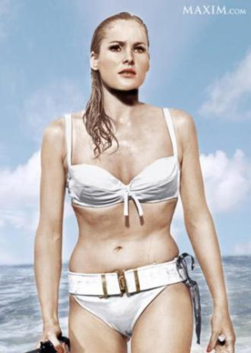 Ursula Andress, the first Bond girl, in the film Dr. No. (1962)