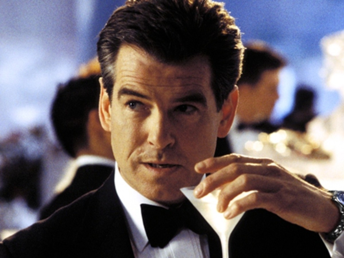 "Pierce Brosnan as 007 who took his martinis ""shaken not stirred."""