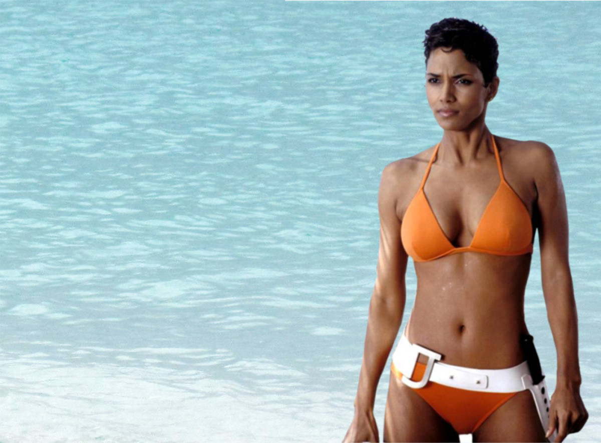 Halle Berry in Die Another Day (2002) and it looks like the bathing suit design has never died.