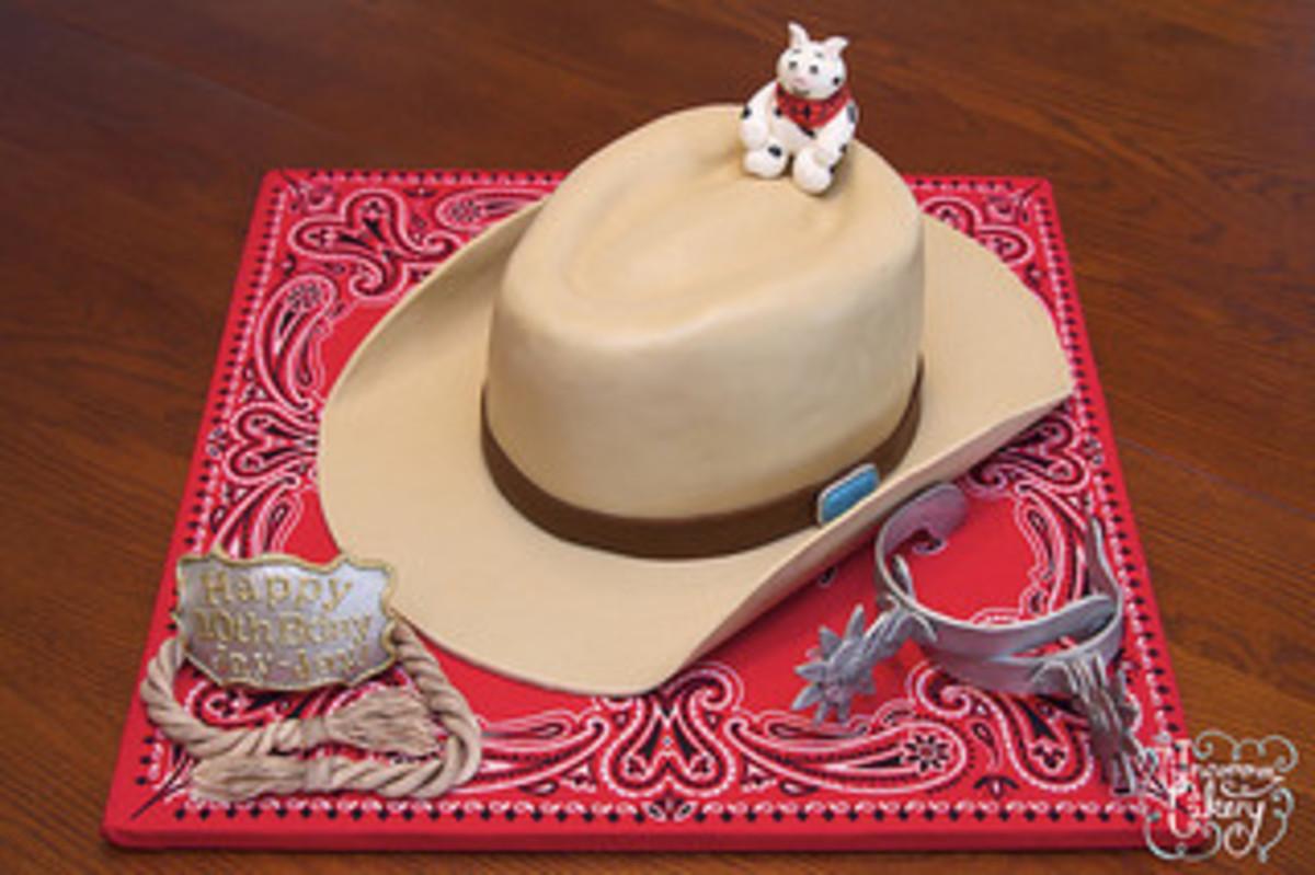 Cowboy hat cake with bandana base