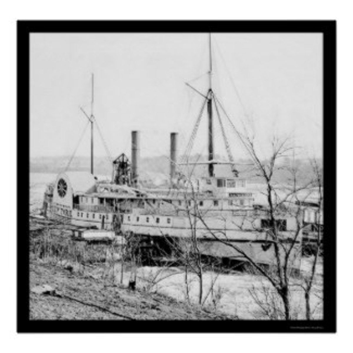The steamship New York that took released prisoners north. The photo was taken in 1865 as it waited for an exchange of prisoners at Aiken's Landing, Virginia.