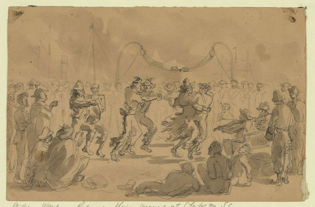 With their ragged uniforms some paroled prisoners celebrated their release with a dance on the deck. Weaker prisoners watch.
