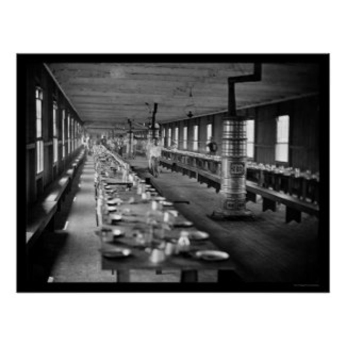 Civil War hospital mess hall in Washington D.C. Harewood Hospital 1865.