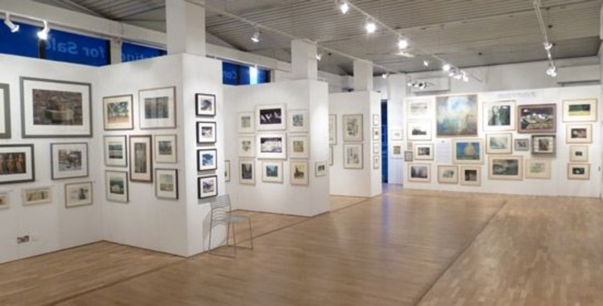 Image: View of the Bankside Gallery during the Spring Exhibition of the Royal Watercolour Society. The Bankside Gallery is situated on the South Bank of the River Thames next to Tate Modern and the Millennium Bridge