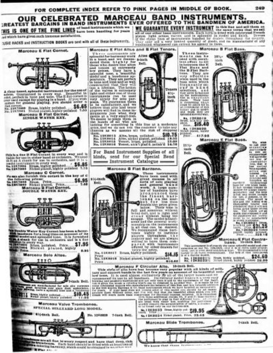 """Musical Instruments: makes me think of """"76 Trombones"""" in """"The Music Man"""". I played trombone for a couple of years, but we didn't buy it from the SEARS catalog. I think we got it second hand."""
