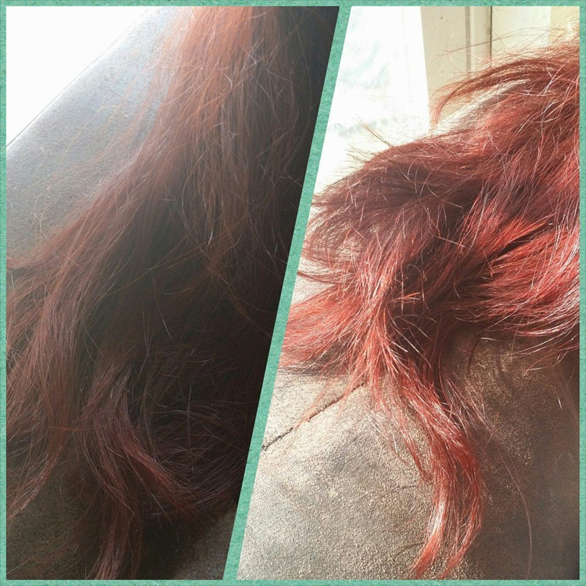 Showing how vibrant my Wine Red henna from Henna Color Lab is indoors vs. in the sunlight. I hadn't done a henna application in several months by time this picture was taken.