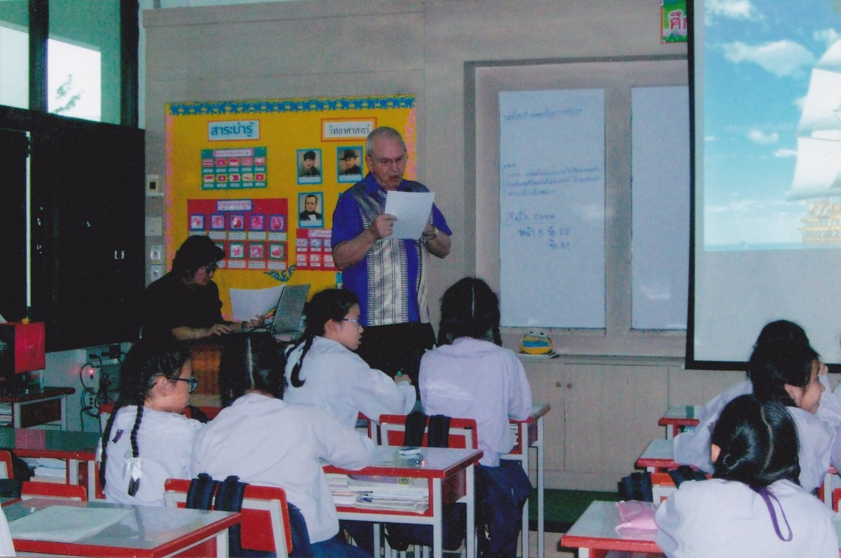 The author in a fourth grade classroom at Saint Joseph Bangna School in Thailand.  Picture taken n 2013.