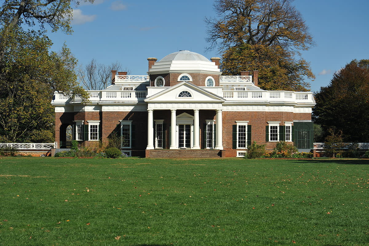 Jefferson's primary residence, Monticello, is located in Virginia. Here he wrote many of his books.