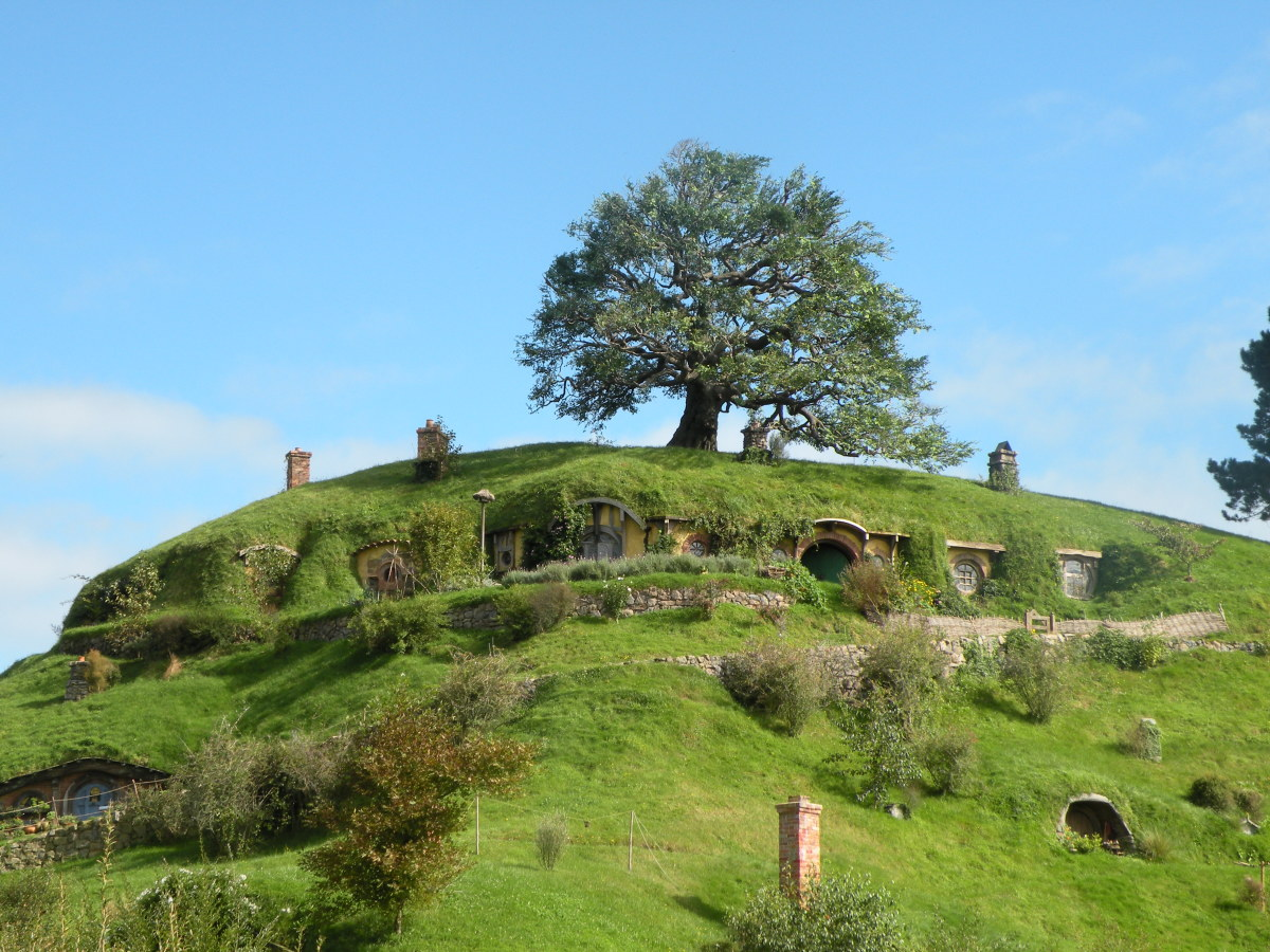 Bag End and the oak tree on top of it, seen from a distance.