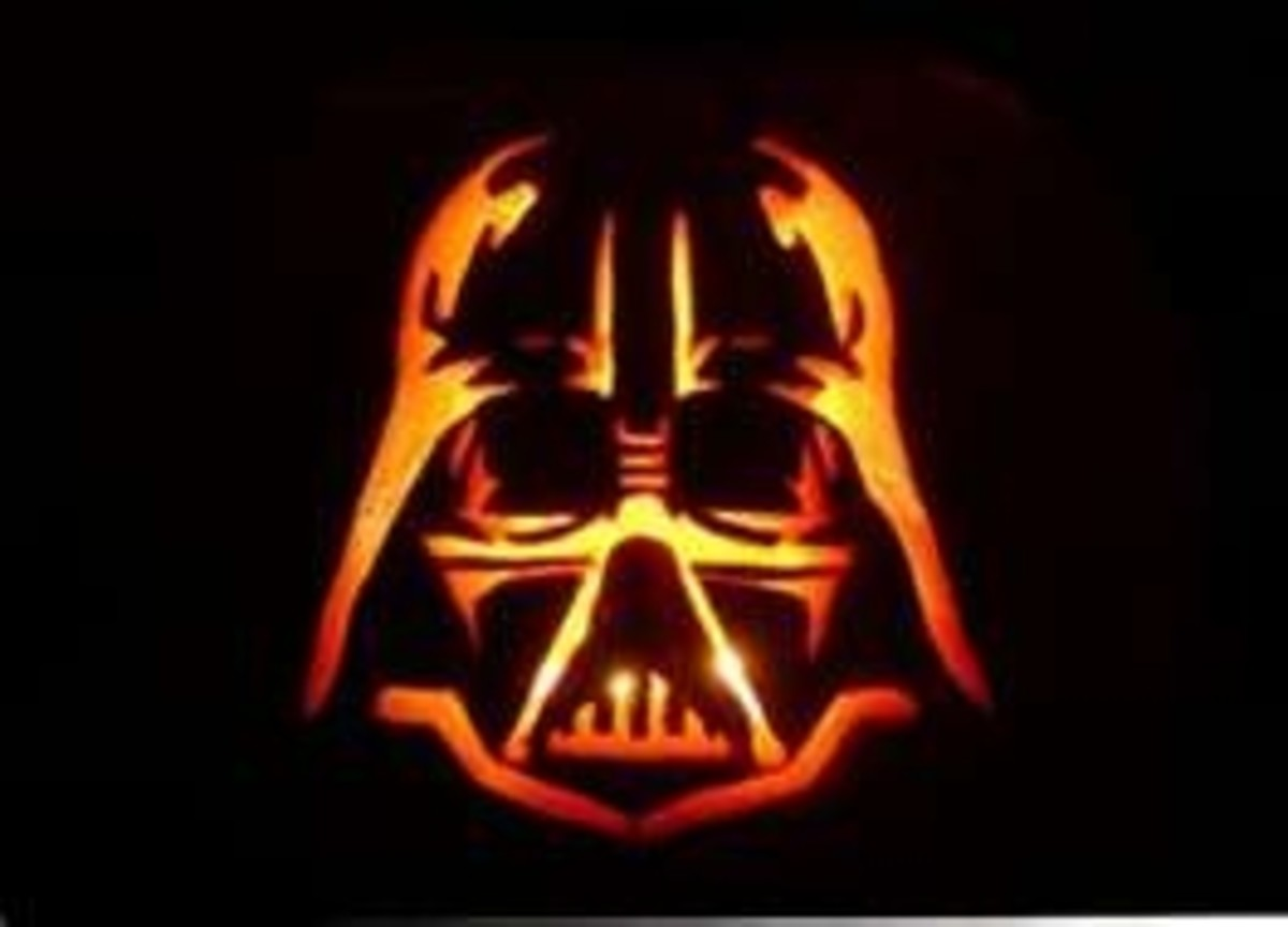 You can create interesting pumpkin jack-o-lantern with character stencils. Star Wars is one of the popular kits. My Darth Vadar looks professional and menacing.