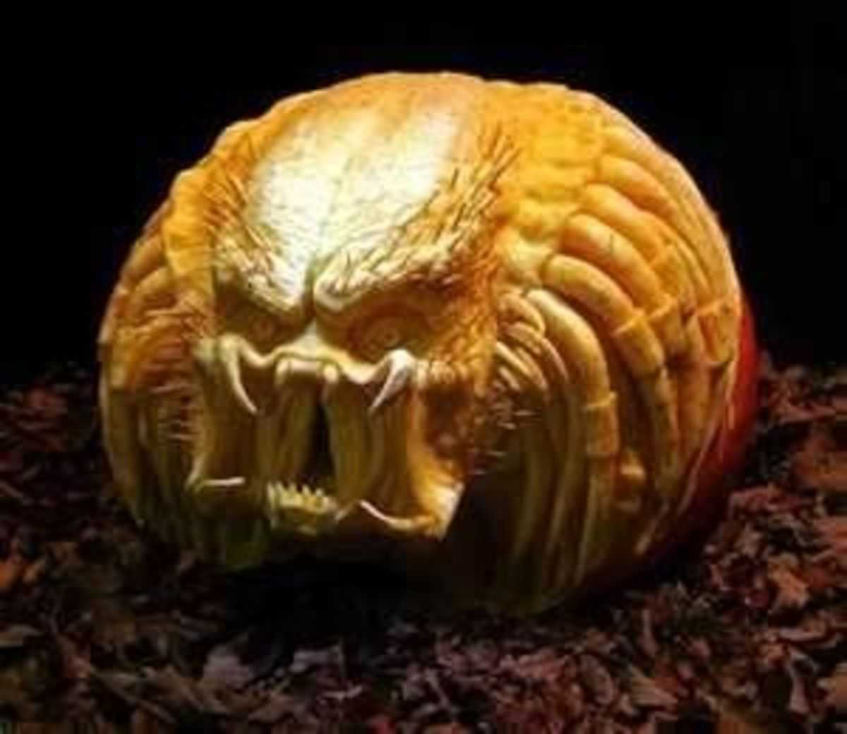 A simple pumpkin becomes a frightening monster in the hands of an expert carver. Photo shared on Flickr.
