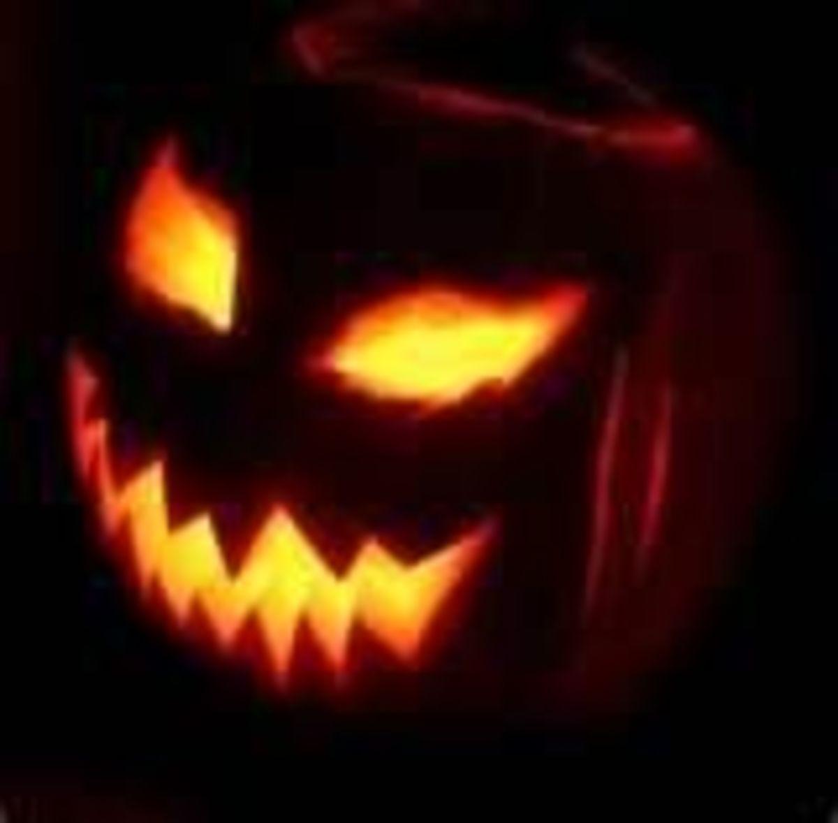 I like make my jack-o-lanterns scary with razor-sharp teeth and slanted eyes.