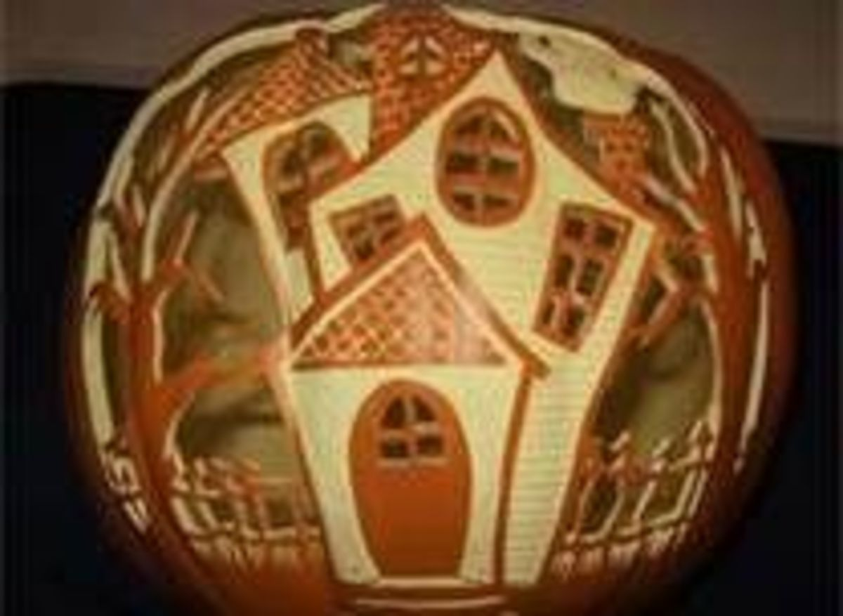 An amazing haunted house jack-o-lantern. This photo was shared on Flickr.
