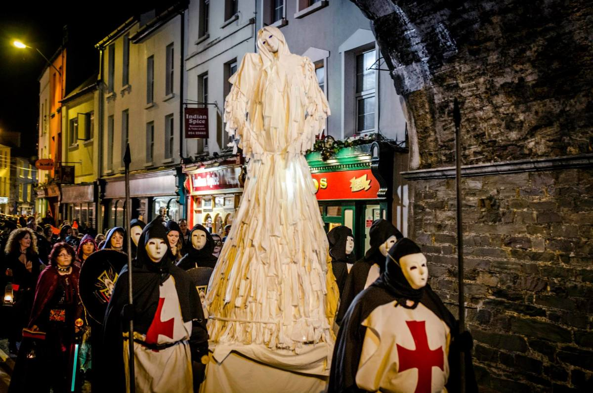 The Youghal Halloween Festival Opening Ceremony Parade makes its way through the streets.