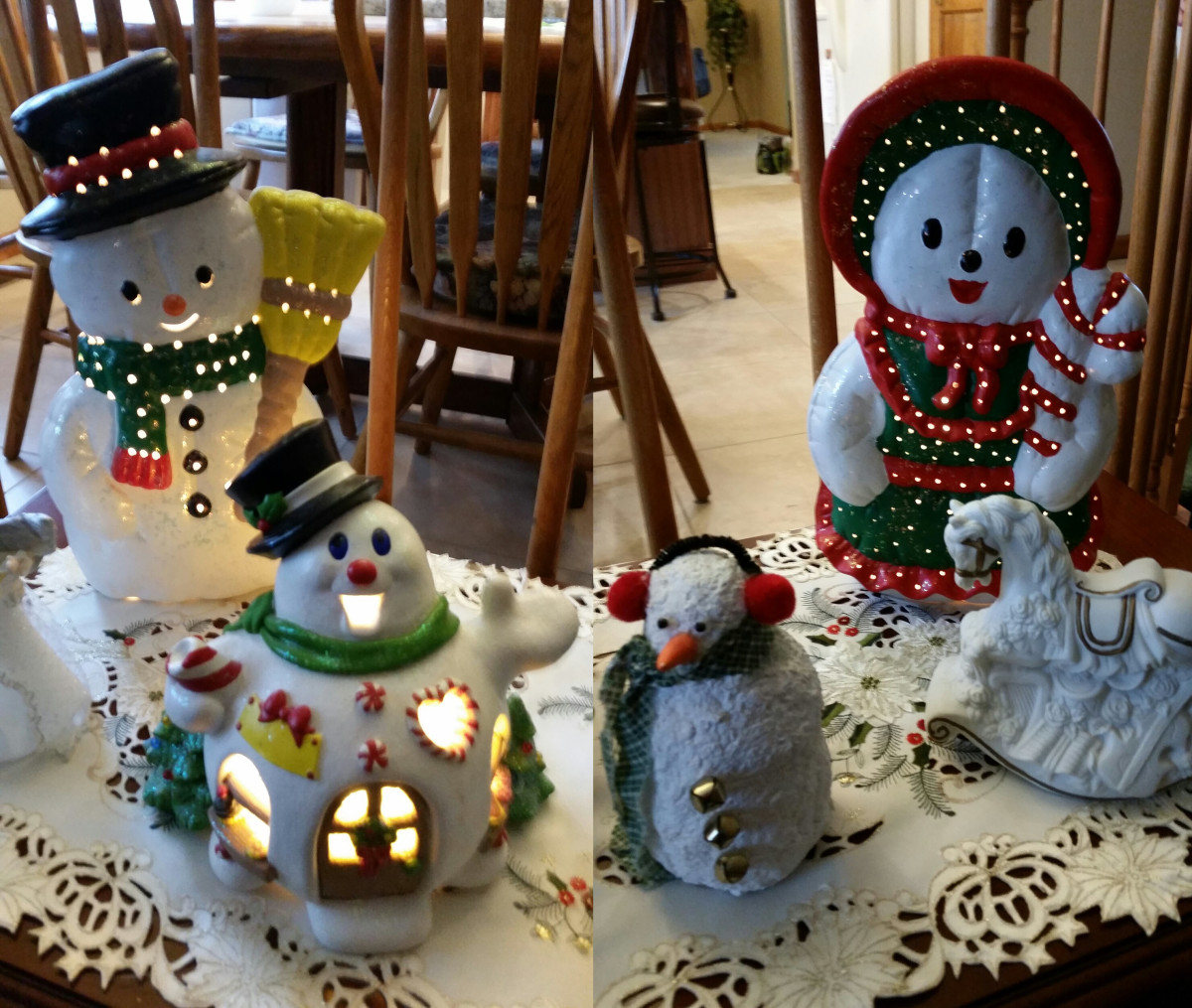 Ceramic Mrs. and Mrs. Snowman