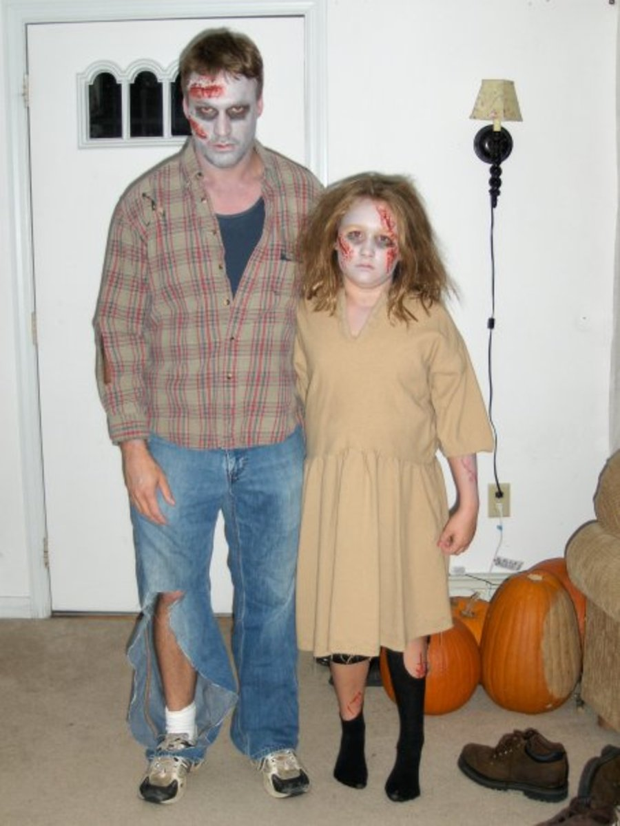 Zombie Walk!  Picture of author and his daughter on their way to a zombie walk.