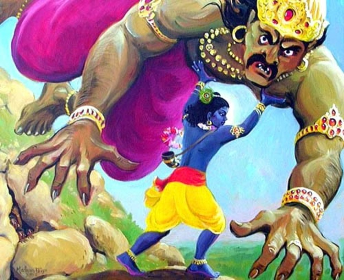 Lord Krishna Killing Devil King Narkasura