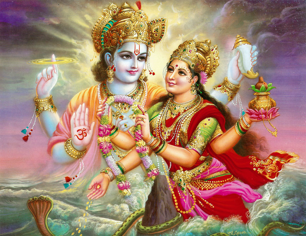 Goddess Laxmi with Vishnu