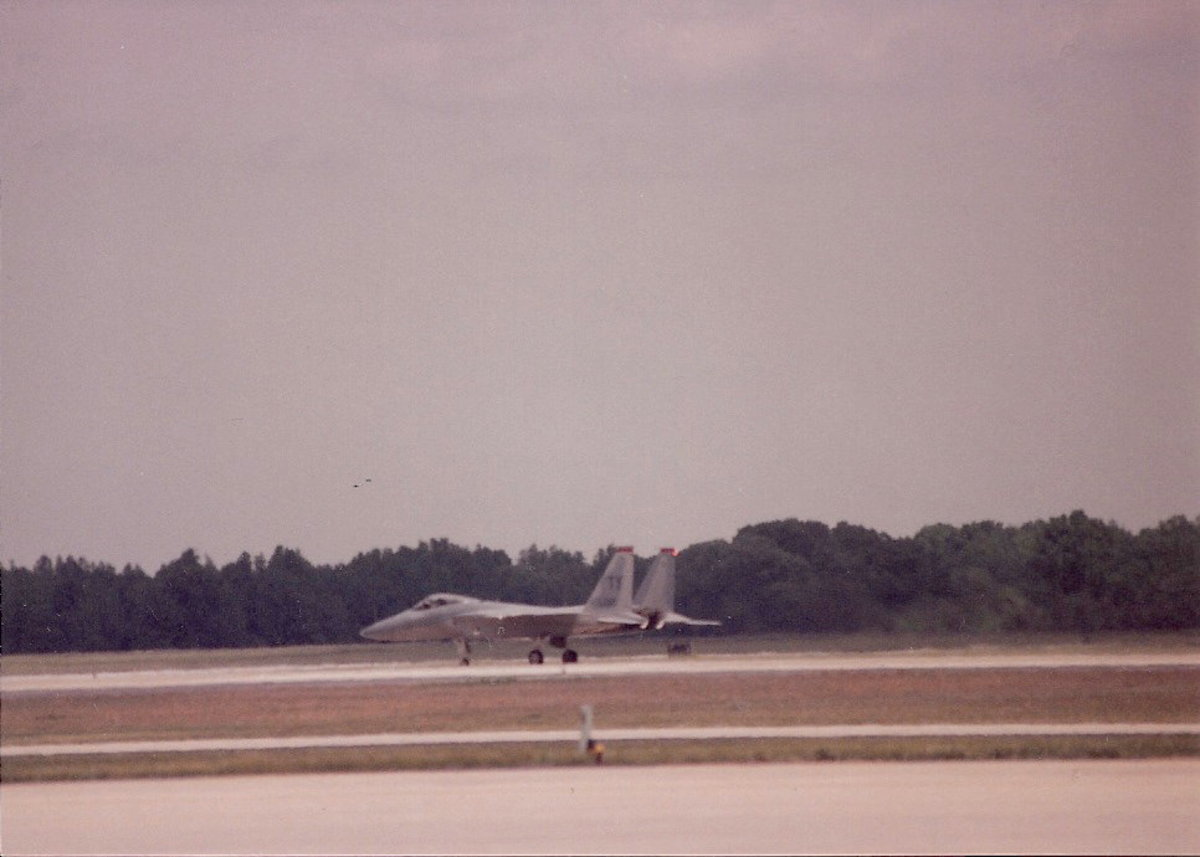 An F-15 on the ground after a performance at Andrews AFB, MD 1993.