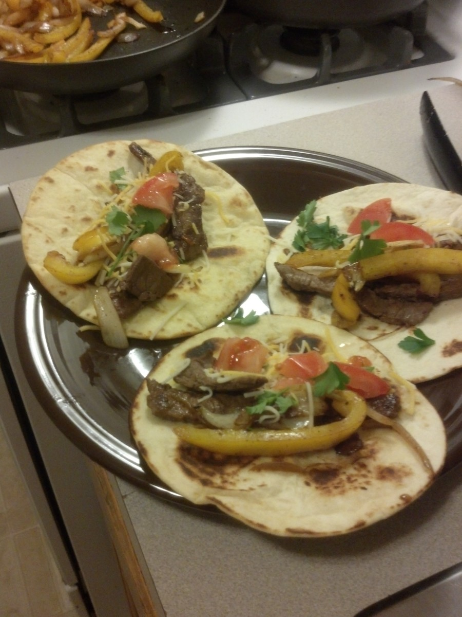 The finished product of this recipe. Quick, healthy steak tacos.