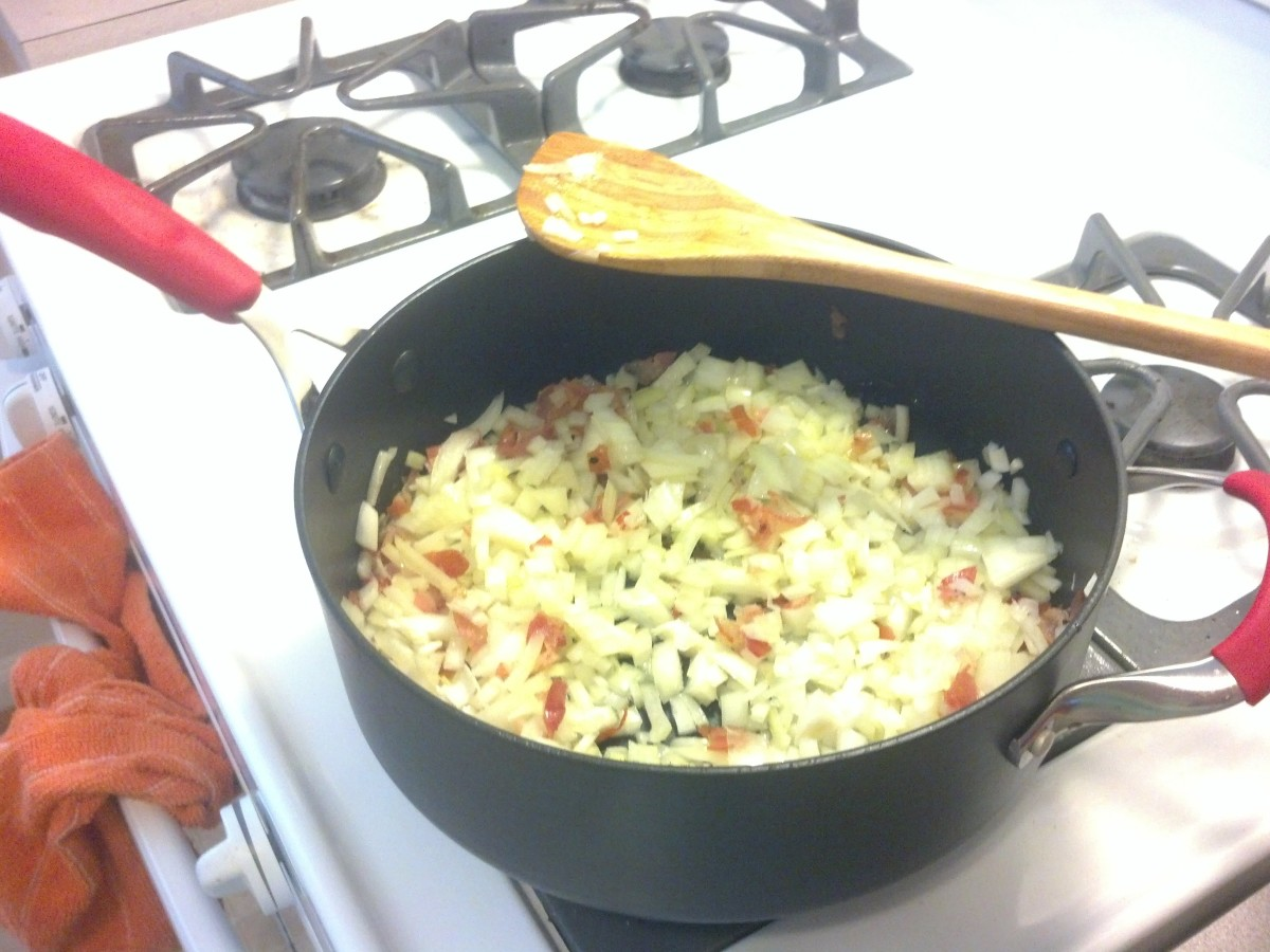 Cook the onions and pancetta mixture until soft, but not browned  or caramelized.