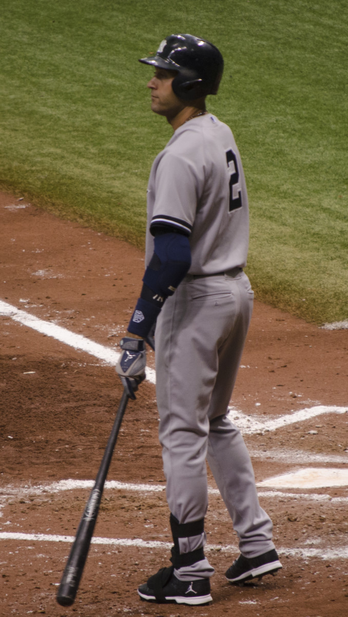 Derek Jeter preparing to bat at Tampa Bay in 2014.