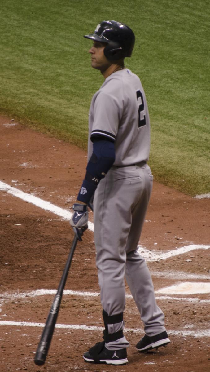 Derek Jeter preparing to bat at Tampa Bay in 2014.
