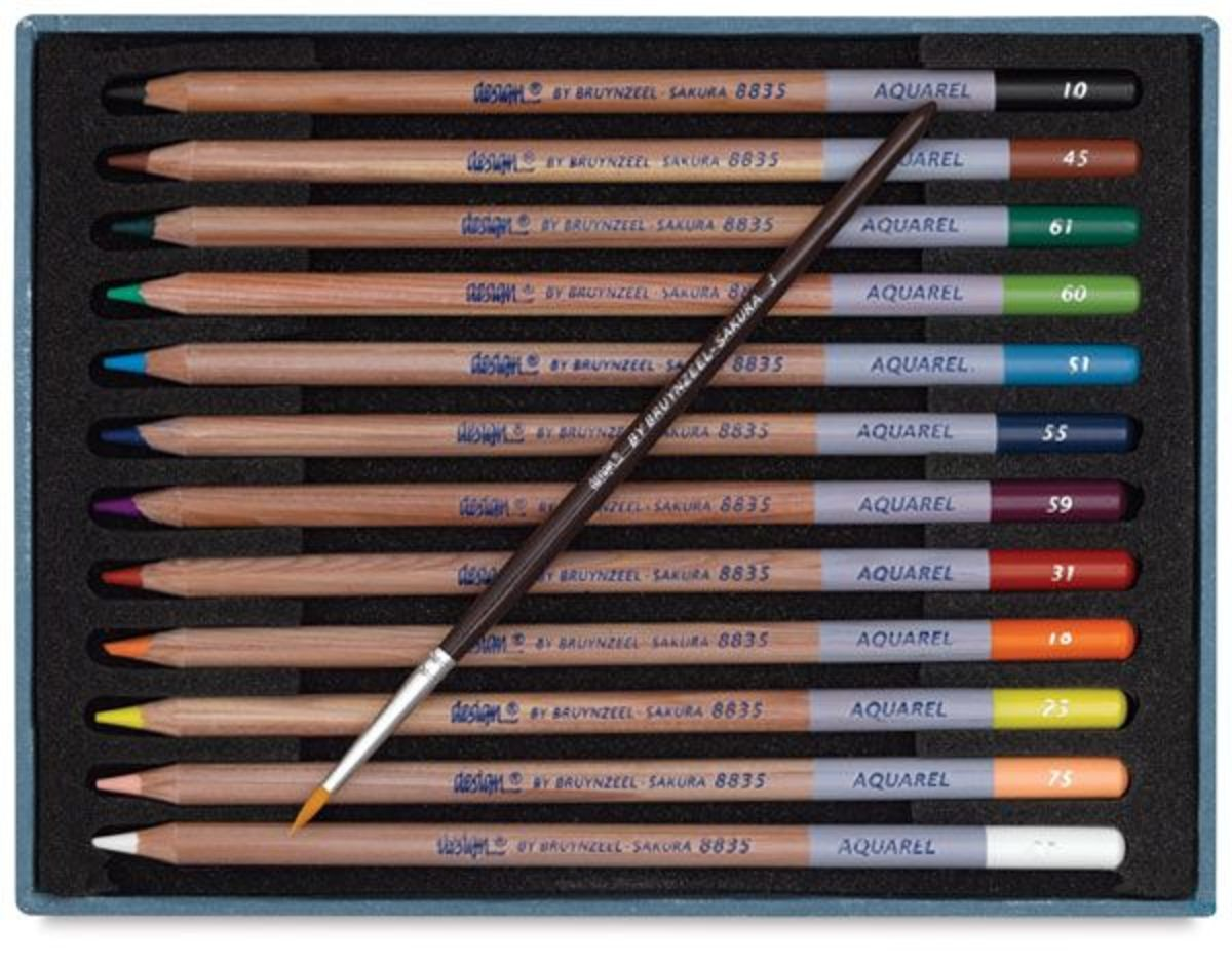 Watercolor pencils are popular in paper crafts. You get the advantage of water coloring with less mess