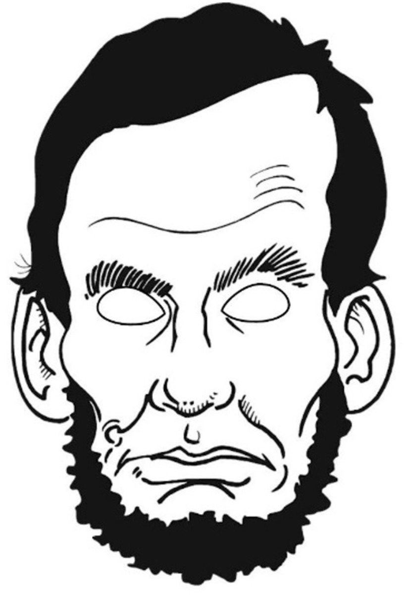 Abraham Lincoln face mask from http://coloringhome .com/lincoln-coloring-pages