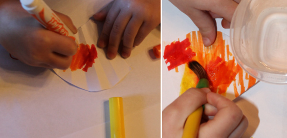 Coloring & painting the coffee filter