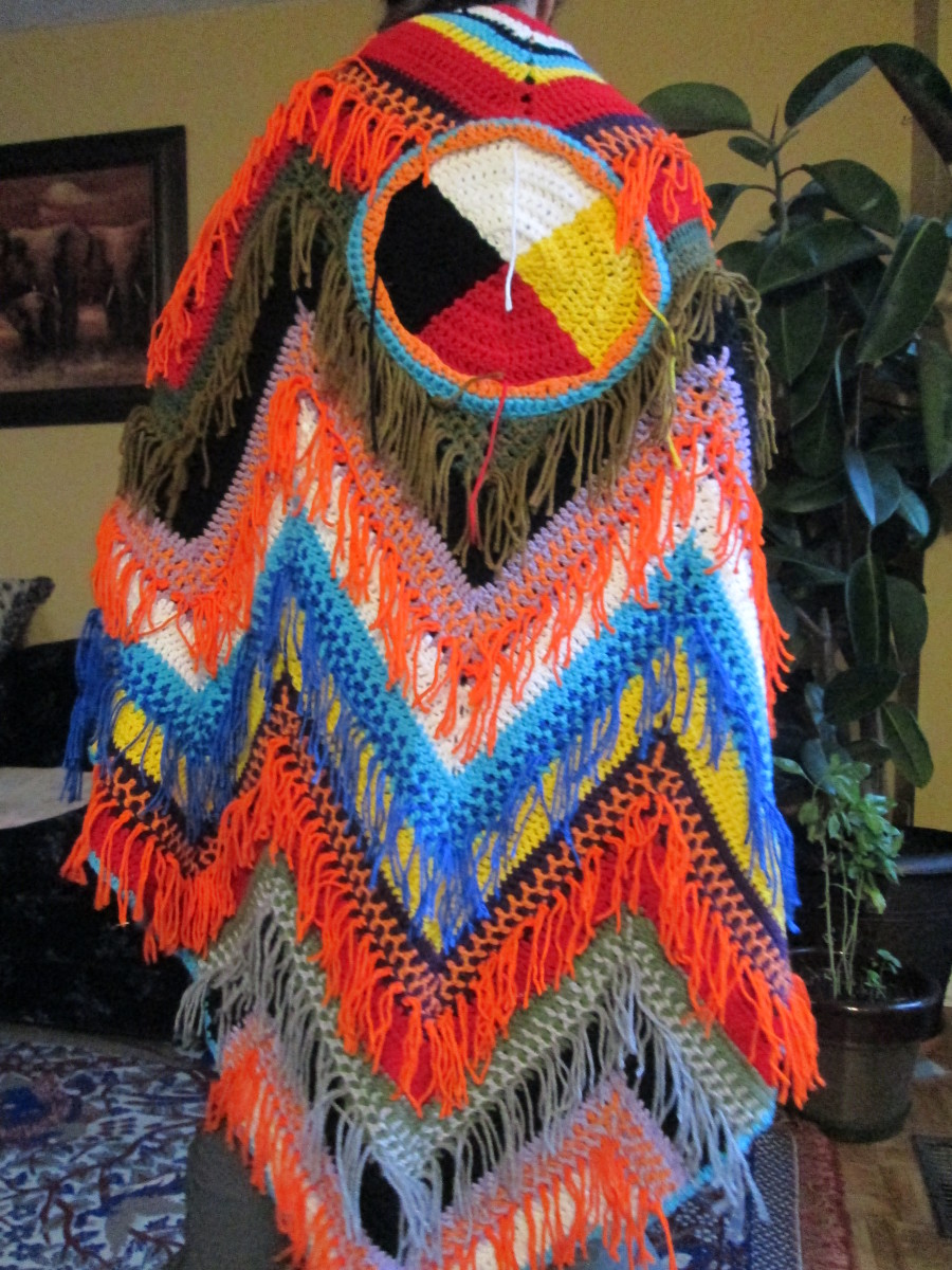Medicine Wheel Shawl hand made.