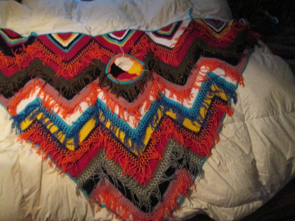 Medicine Wheel Shawl, hand made.