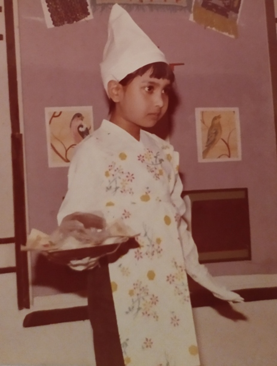 """Pic13: Myself Dressed up as a Baker and Participating in the Drama, """"The Grumbler"""""""