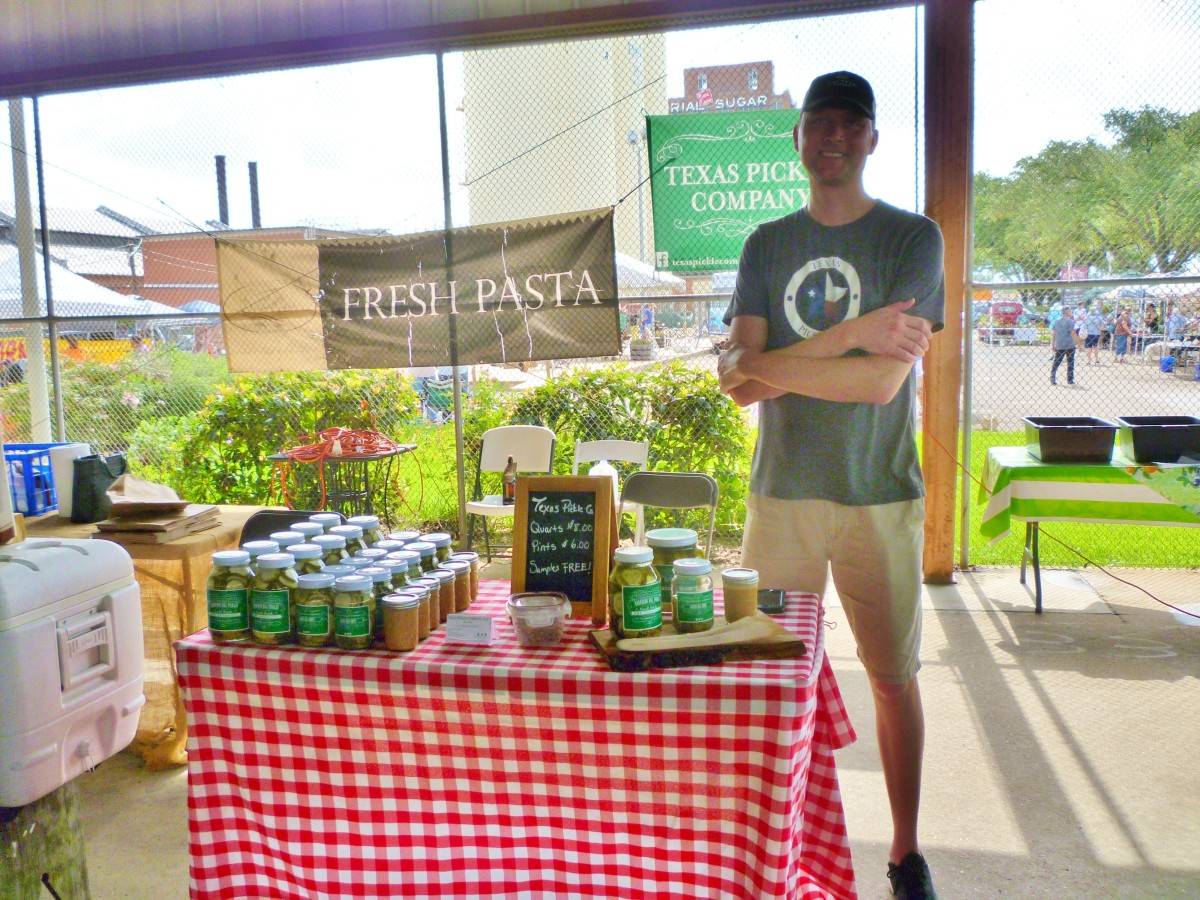 Texas Pickle Company table at the Farmer's Market at Imperial Sugar Land