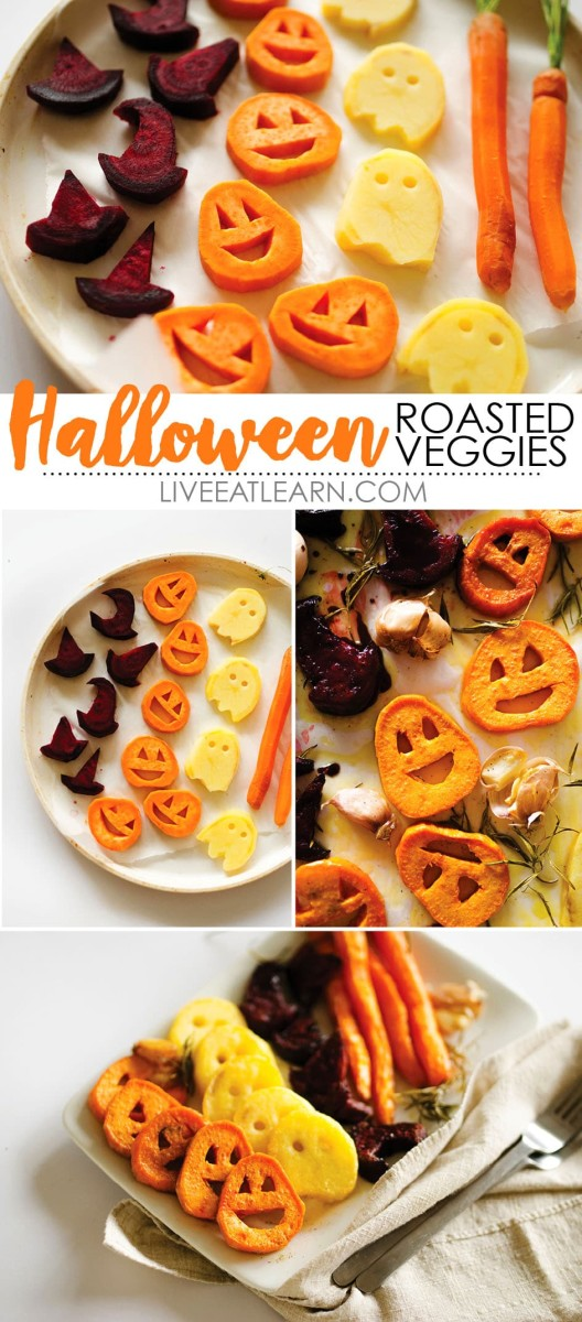 Cut your fall veggies with a Halloween cookie cutter and roast them.  These veggies are the perfect compliment to your Mummy Meat Loaf!