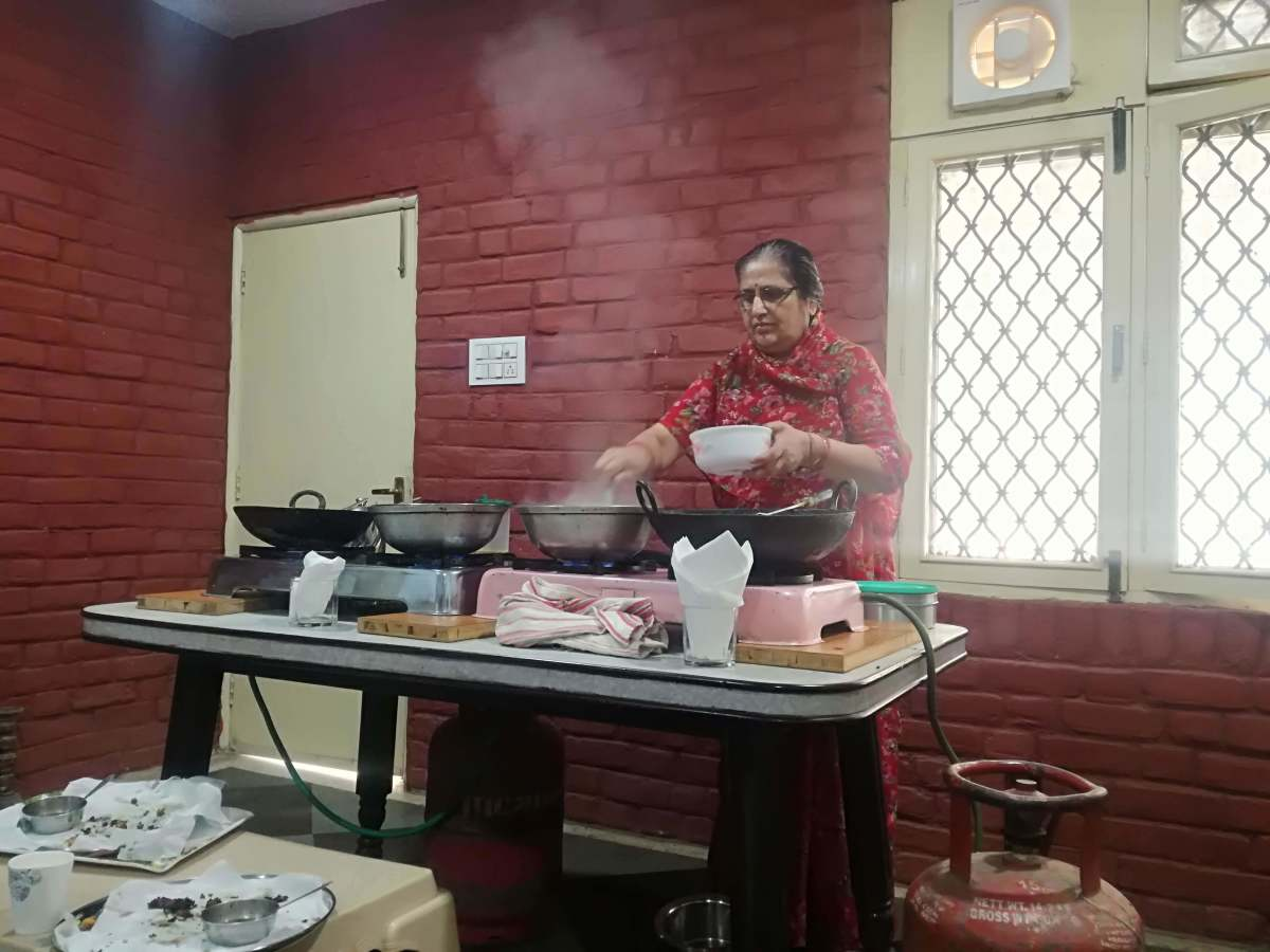 Our sweet teacher at the cooking class in Udaipur. Now, I can make chana masala for everyone