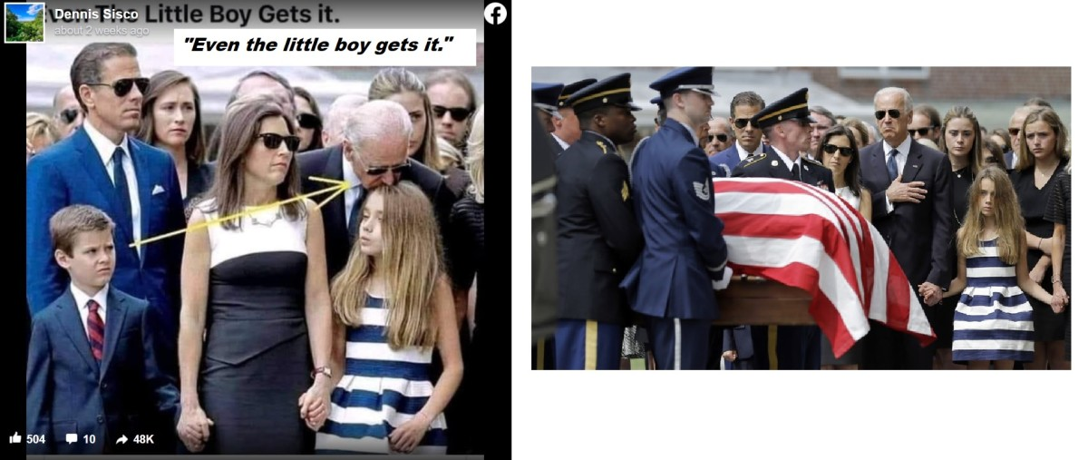 Propaganda (Left) PATRICK SEMANSKY / AP's Photo of Joe Biden at his son's funeral (Right)