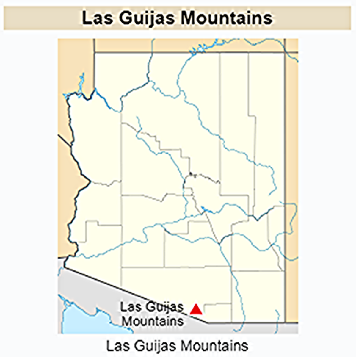 The range spans 12 kilometres (7.5 mi) long by 4 km (2.5 mi). Surrounding ranges includes the Cerro Colorado Mountains to the northeast, Tumacacori Mountains of Santa Cruz County to the east,  San Luis Mountains to the south and the Baboquivari west.