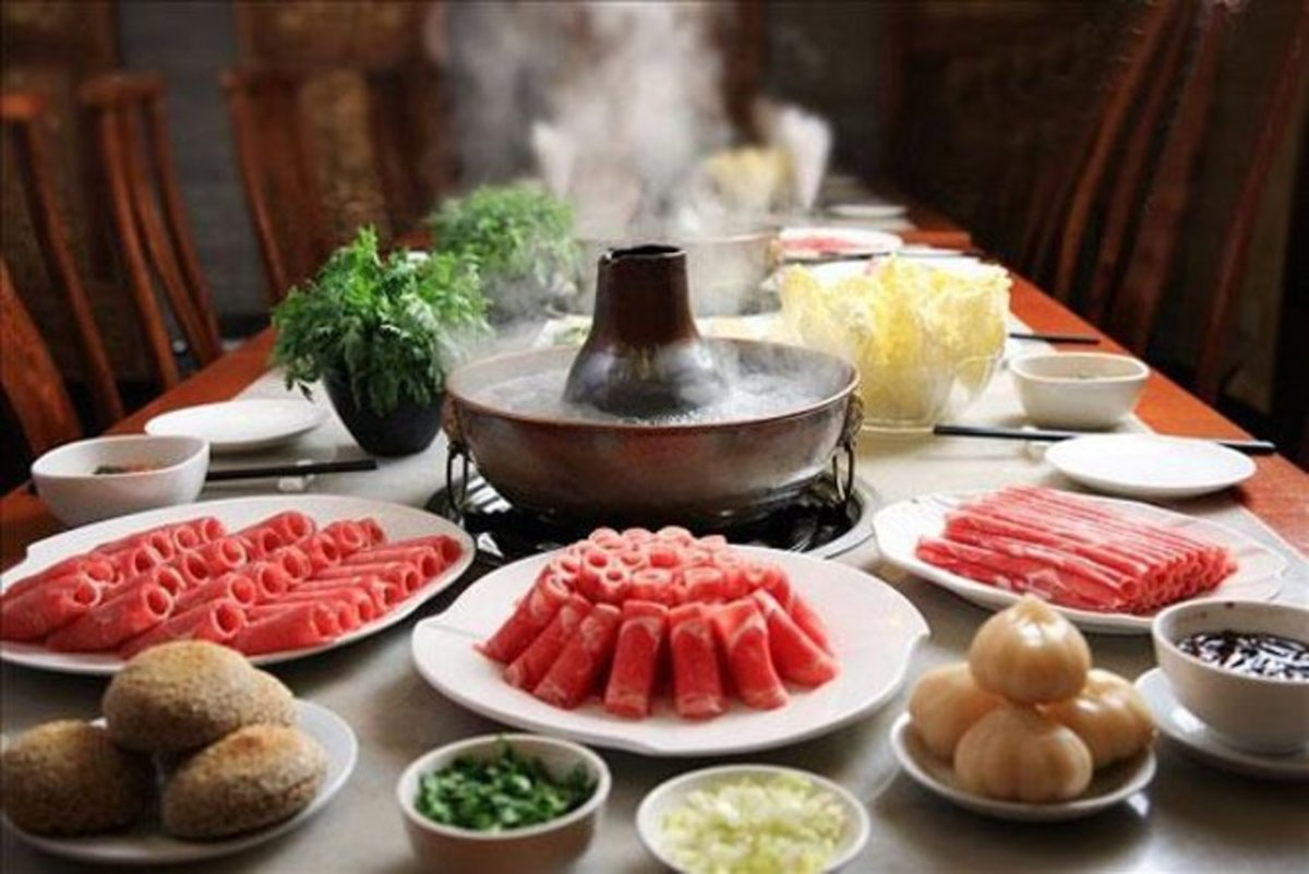 Traditional Mongolian hotpot heated with charcoal.