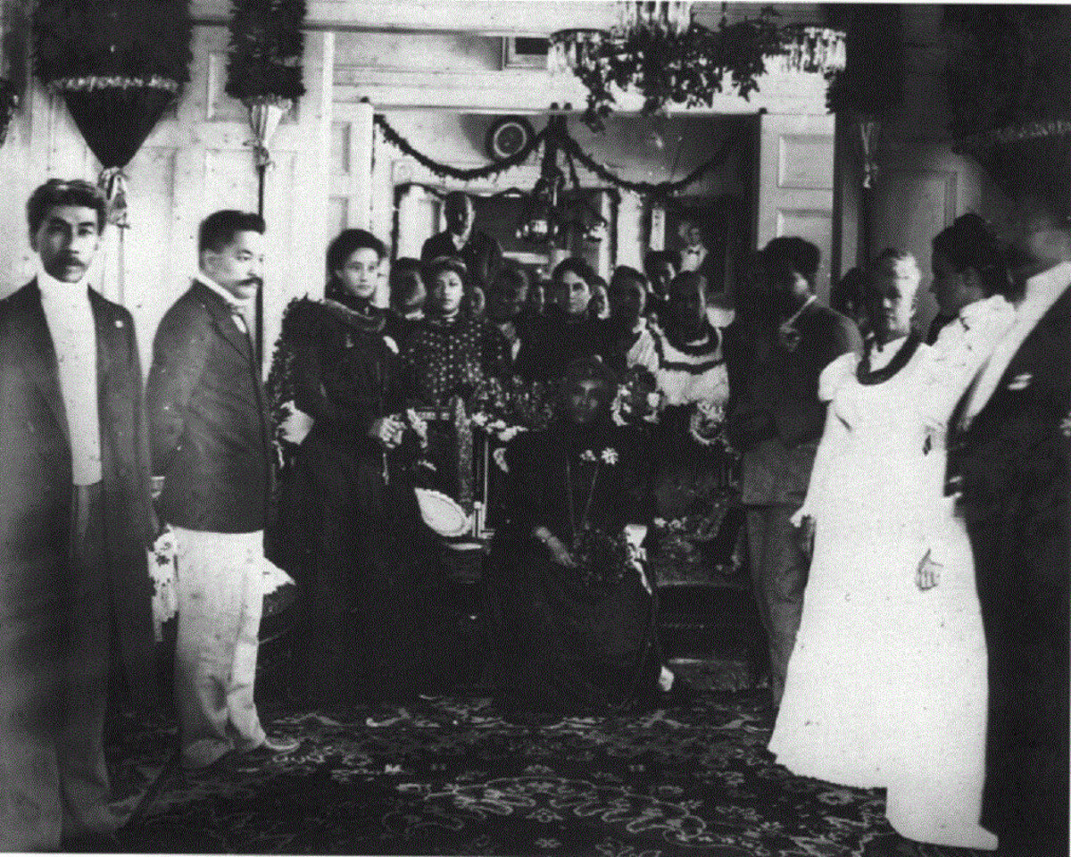 Queen Liliuokalani and her court at Washington Place, now the Governor's mansion, on the day of annexation