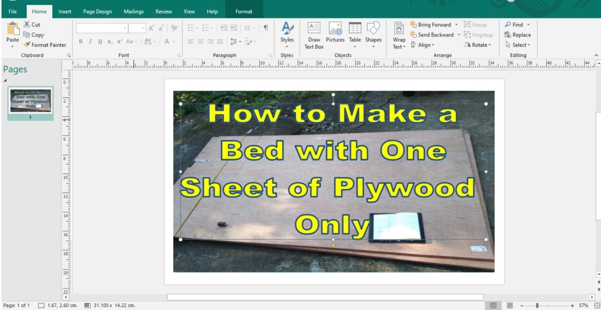 Making a JPG image in publisher with images and Wordart