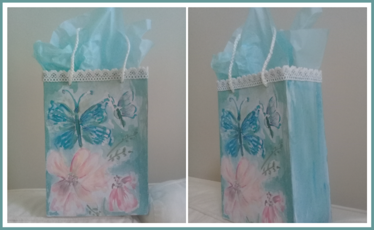 How to Make a Watercolour Gift Bag From a Recycled Cookie Box
